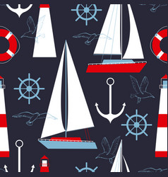 Sea seamless pattern with yachts and lighthouses vector
