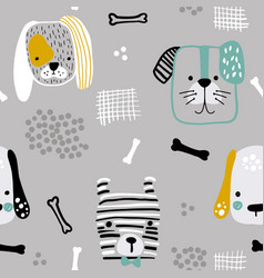 seamless pattern with cute dog faces bones and vector image