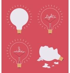 Set of four light bulbs against crimson background vector