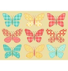 Set of patchwork butterflys 2 vector image