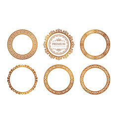 set ornamental round frames vector image