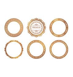 Set ornamental round frames vector