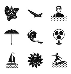 Sewage treatment icons set simple style vector