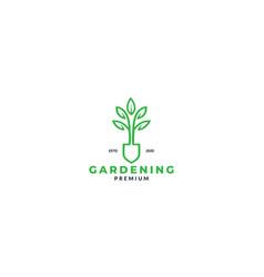 Shovel and plant leaf flower garden line logo vector