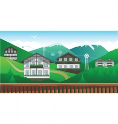 Swiss mountain resort vector