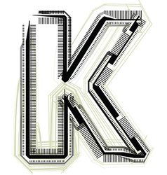 Technological font LETTER K vector