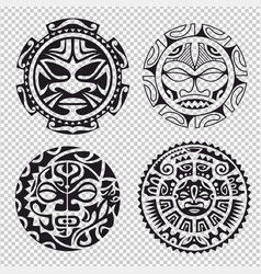 The set of tribal masks vector