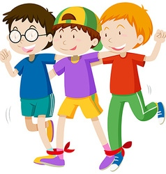 Three boys playing game vector image