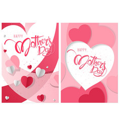 two greeting cards happy mothers day vector image