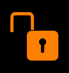 Unlock sign orange icon on black vector