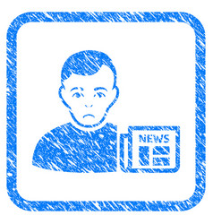 user news framed stamp vector image