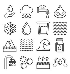 water icons set on white background line style vector image