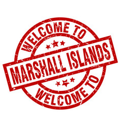 Welcome to marshall islands red stamp vector