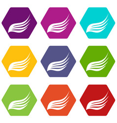 Wing icon set color hexahedron vector