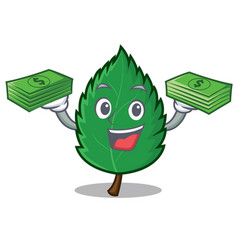 With money mint leaves mascot cartoon vector
