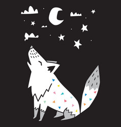 wolf howls at moon in night scandinavian vector image