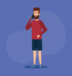 Young man calling with smartphone vector