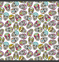 Colorful mexican sugar skull seamless pattern vector