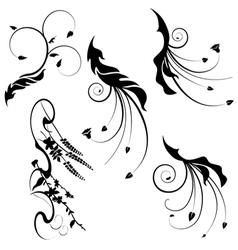 decorative motifs leaves vector image vector image