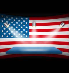 flag of usa and platform with spotlights vector image