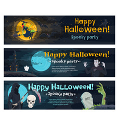 halloween party banner with ghost bat and witch vector image
