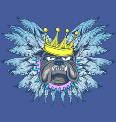 KING DOG WITH WINGS vector image