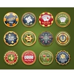 Poker glossy labels set vector image vector image