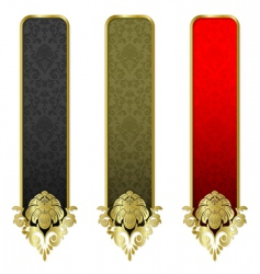 set from gold banners vector image