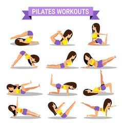 set of pilates workouts design vector image