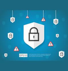Shield and alert line icon internet vpn security vector