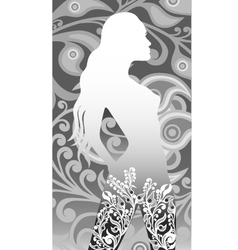 floral silhouette of a girl vector image
