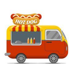 hot dog street food caravan trailer vector image