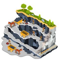 isometric coal mining quarry vector image vector image