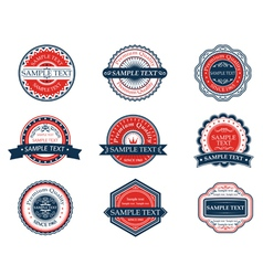 Retro blue and red labels set vector image vector image
