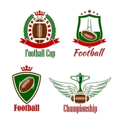 Rugby championship or sport club retro icons vector image