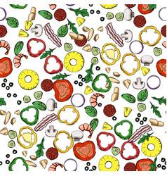 seamless food ingredients pattern vector image