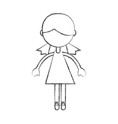 sketch draw girl cartoon vector image