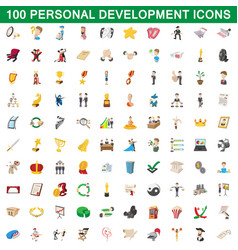 100 personal development icons set cartoon style vector