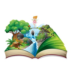 An open book with an image of a fairy land vector image vector image