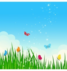 Beautiful summer meadow with colorful butterflies vector image