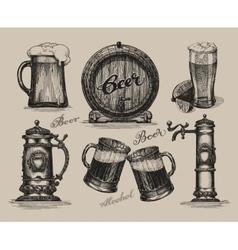 Beer set Sketch elements for oktoberfest festival vector image