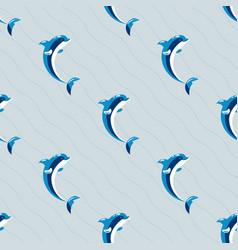 Cute dolphins aquatic marine nature ocean seamless vector