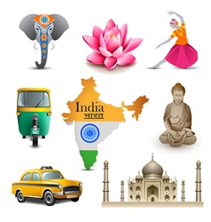 India travel set icons vector image vector image