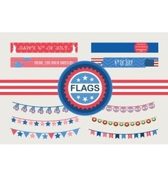 Patriotic bunting flags and straw flags 4th of vector image vector image