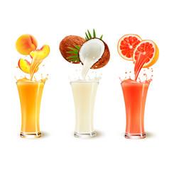 set of fruit juice splash in a glass peach vector image