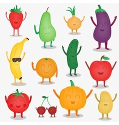 Cartoon fruits and vegetables funny food concept vector