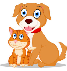 cute dog and cat cartoon vector image vector image