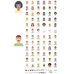 flat faces icon set vector image vector image