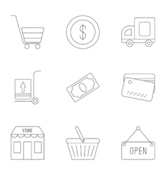 Store icons set outline style vector image vector image