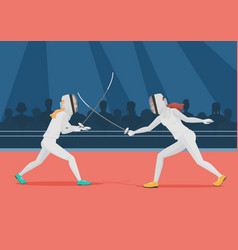 Two people doing fencing fencing championship vector